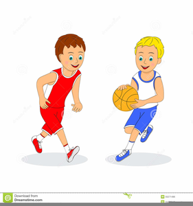 Boys Playing Basketball Clipart.