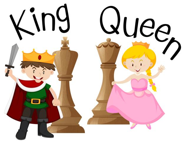 King and queen with chess game.