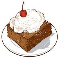 Brownie Ala Mode Stock Vector.