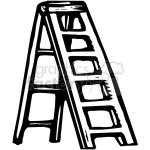 black and white ladder clipart. Royalty.