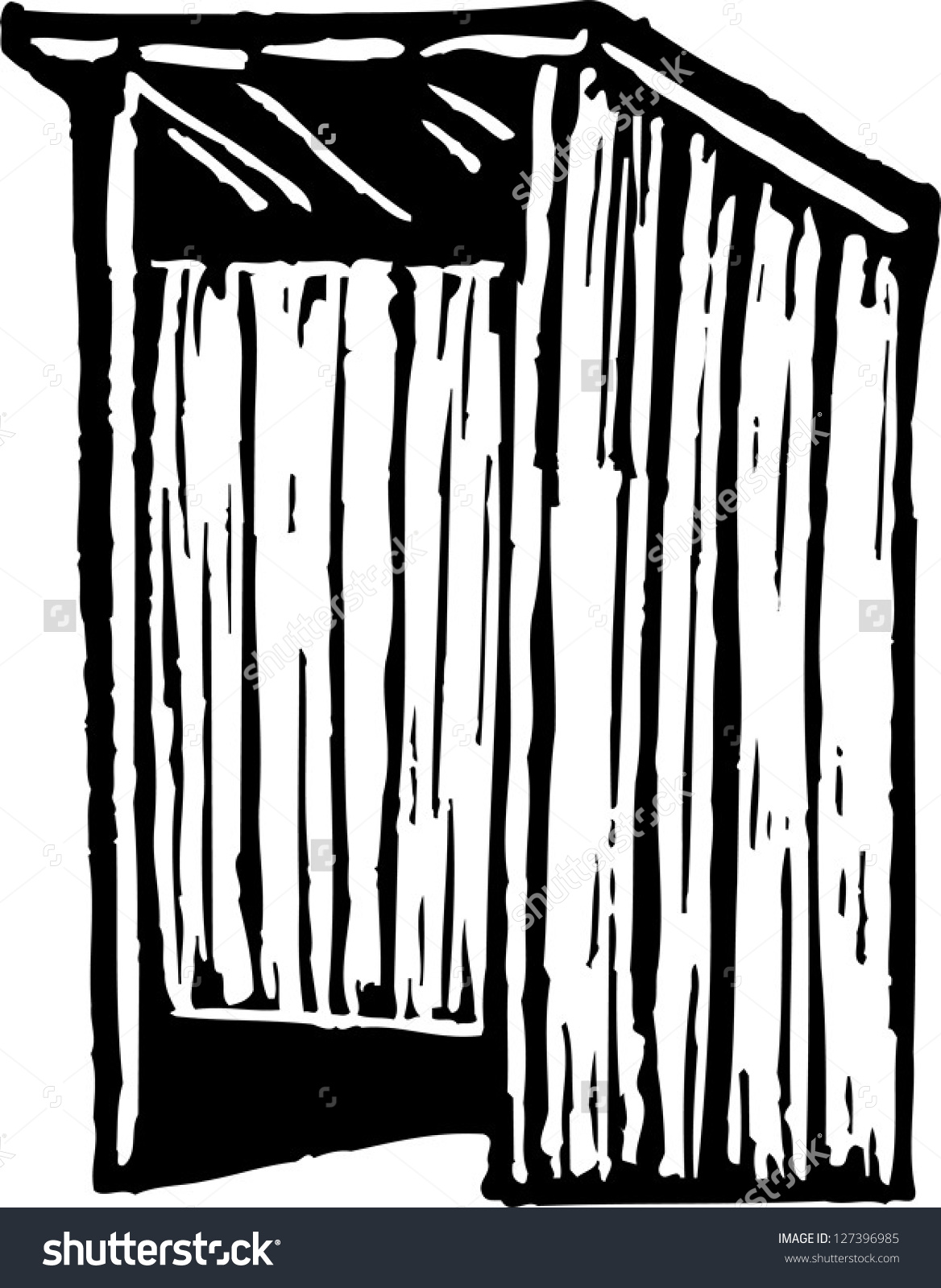 Black And White Vector Illustration Of A Latrine.