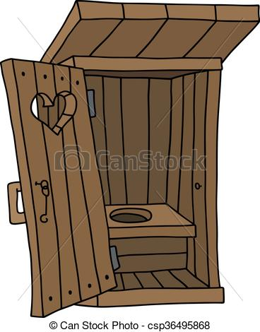 Clip Art Vector of Old wooden latrine shack.