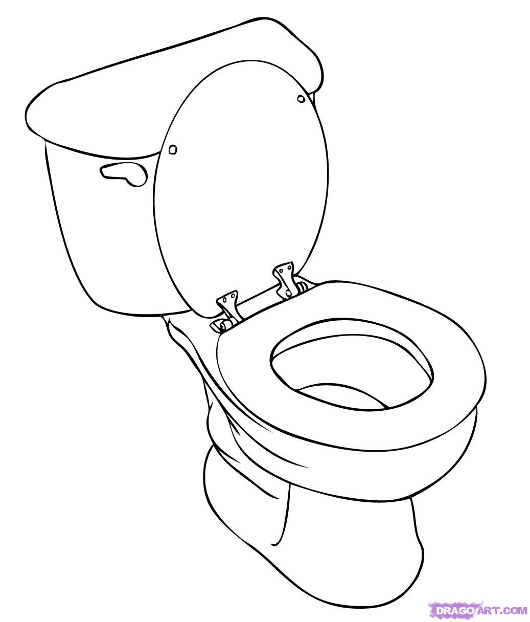 How to Draw a Toilet, Step by Step, Stuff, Pop Culture, FREE.