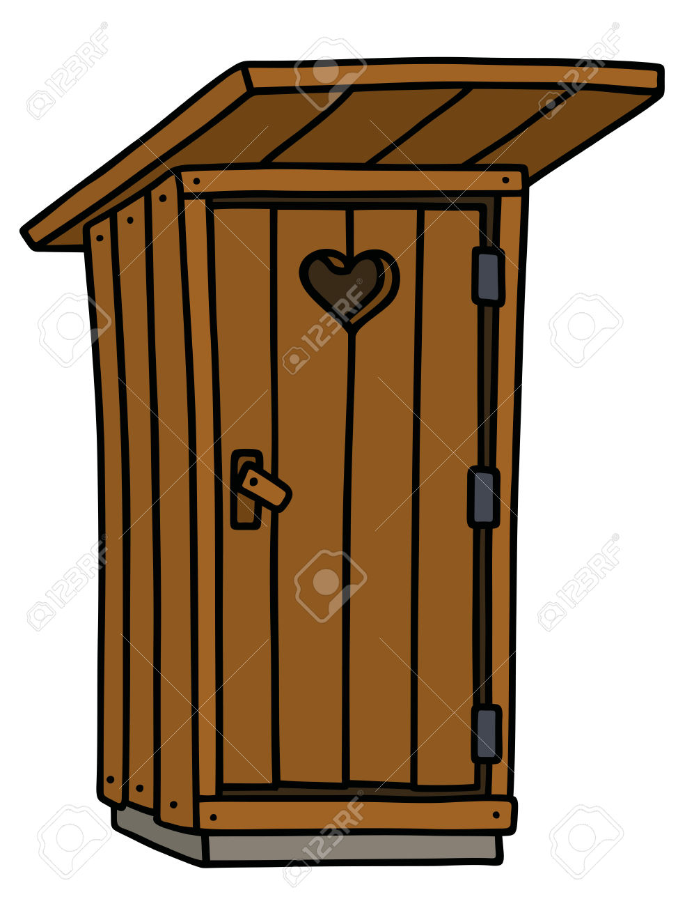 Hand Drawing Of A Funny Old Wooden Latrine Shack Royalty Free.