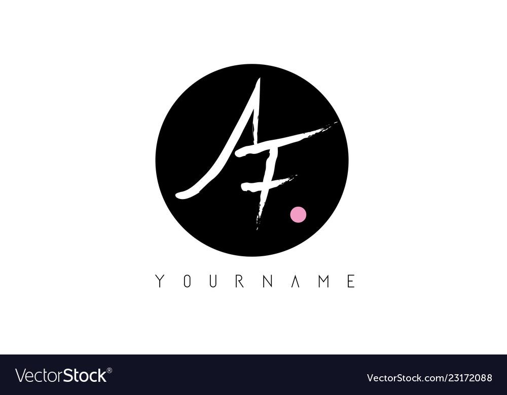 Af handwritten brush letter logo design with.