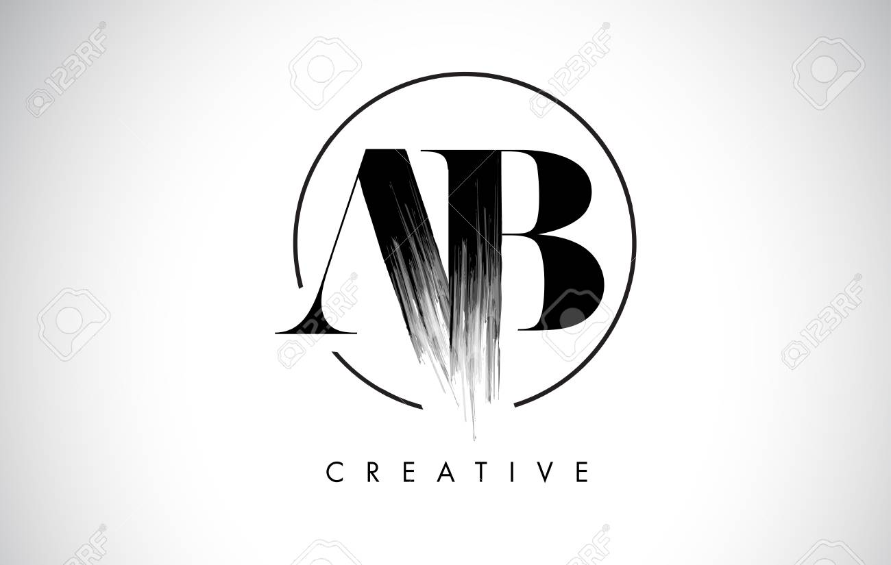 AB Brush Stroke Letter Logo Design. Black Paint Logo Leters Icon...