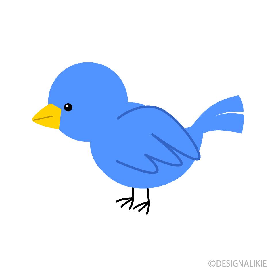 Free Blue Little Bird Clipart Image|Illustoon.