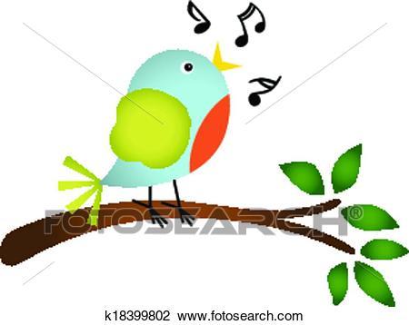 Little bird singing on a tree Clipart.