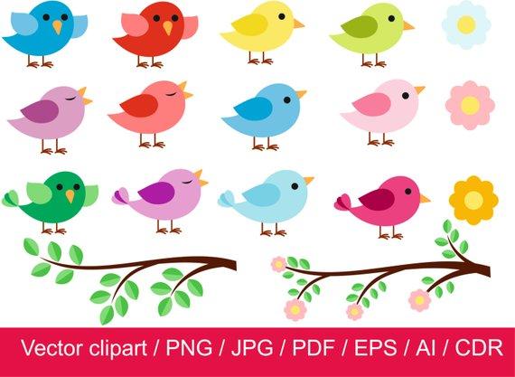 Little Birds clipart / Birds vector / Birds digital.