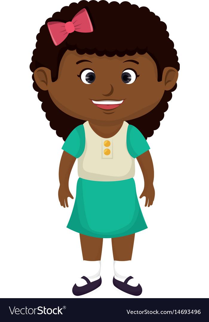 Cute little black girl character.