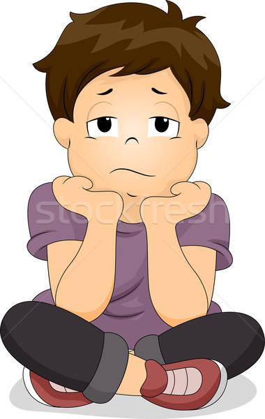 Bored Little Boy vector illustration © lenm (#3370339.