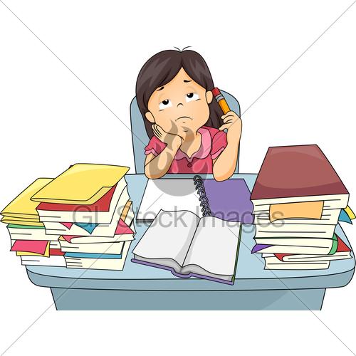 Kid Girl Study Bored · GL Stock Images.