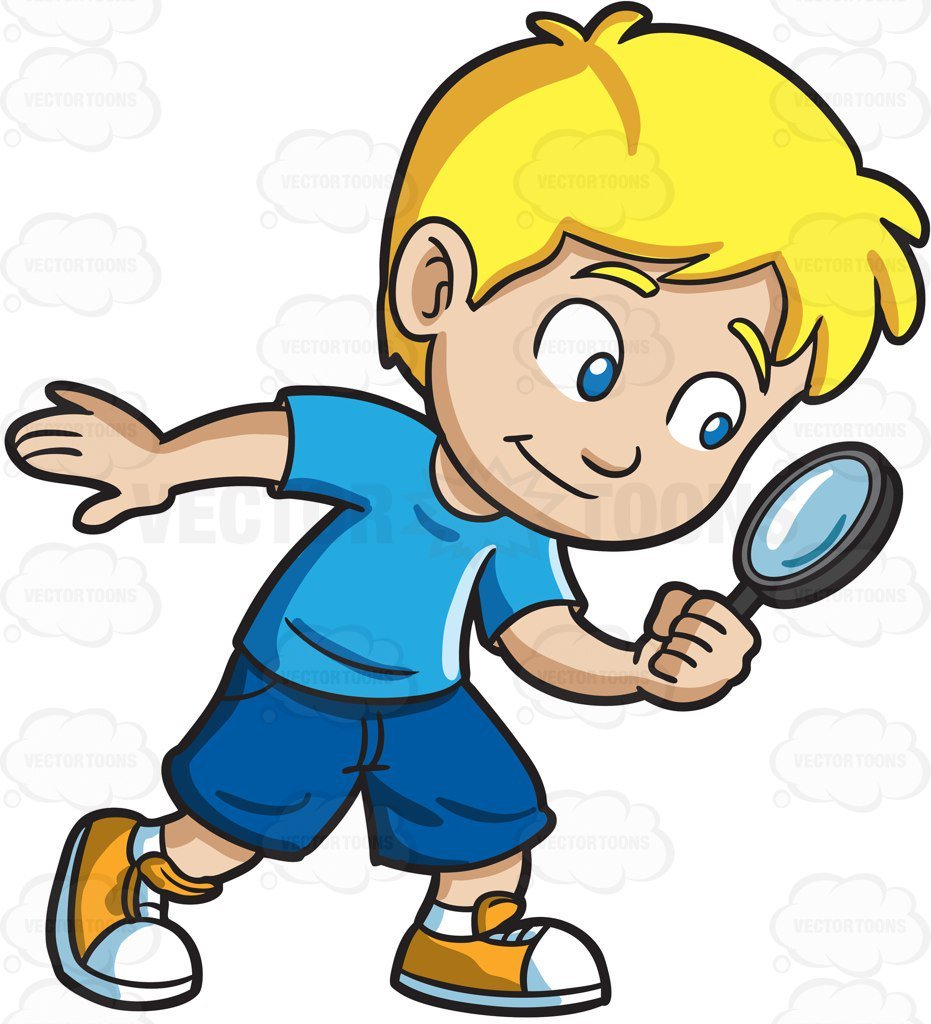 A Little Boy Playing Detective.