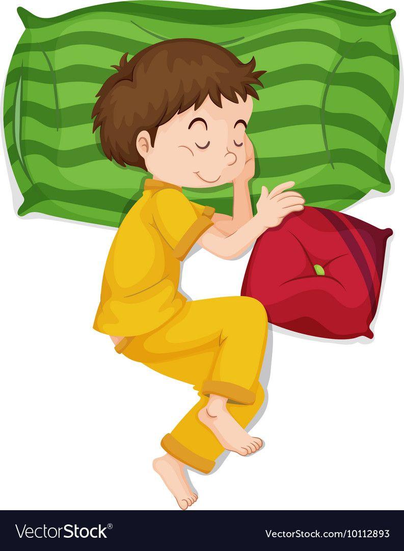 Little boy in yellow pj sleeping Royalty Free Vector Image.