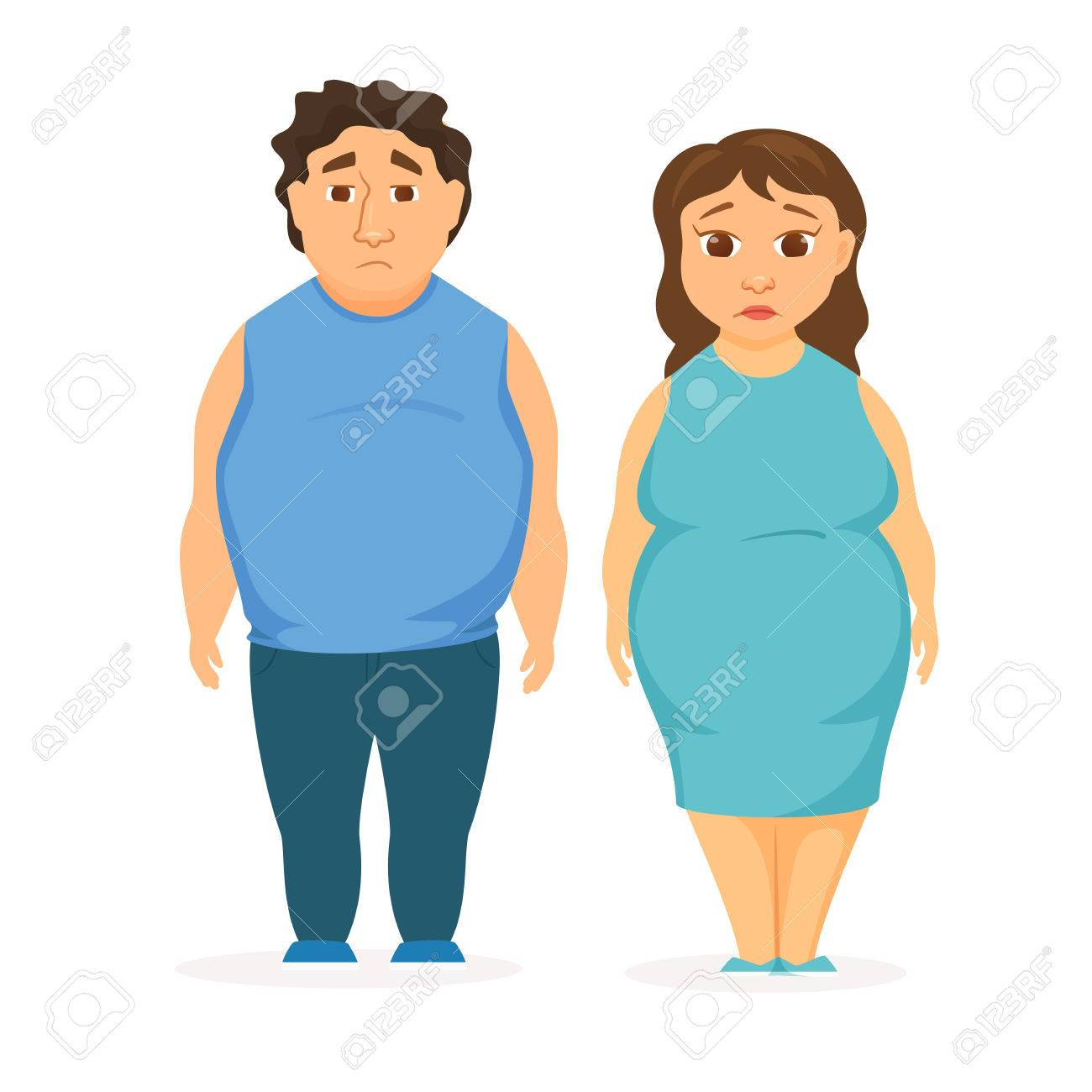 Man and women obesity. Fat people concept. Sad overweight couple...