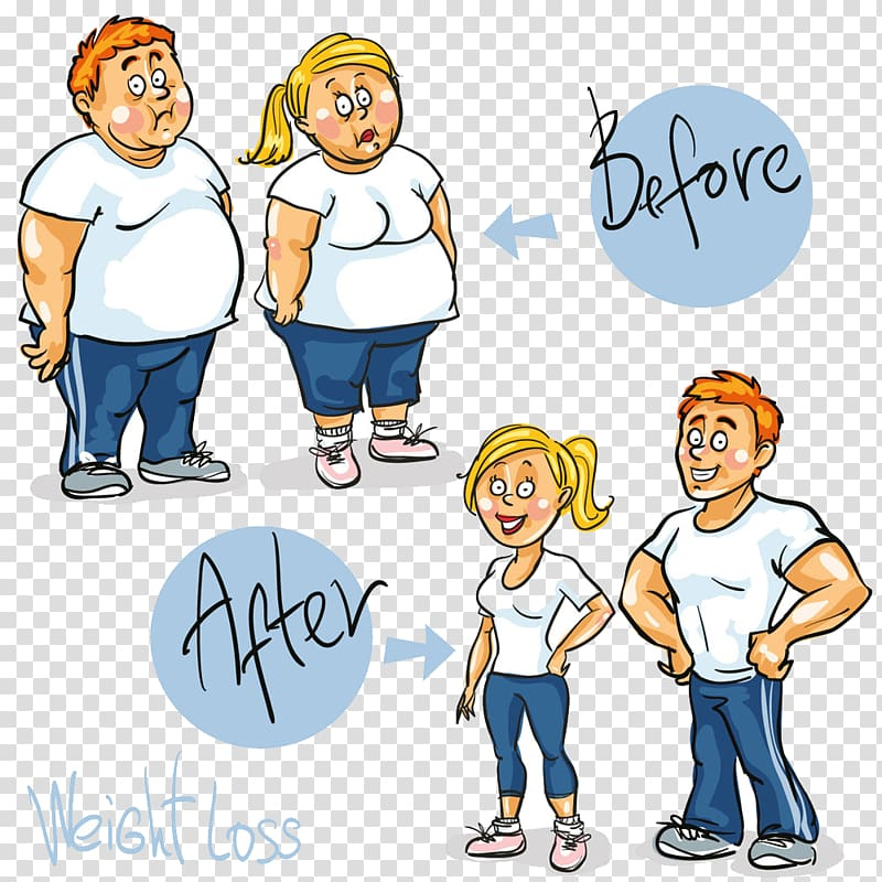 Before and after couple , Weight loss Cartoon , Compare.