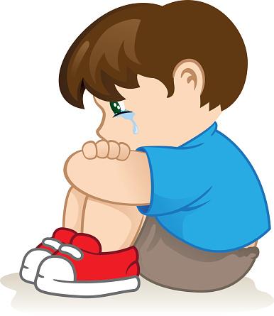 Boy Feeling Sad Clipart.