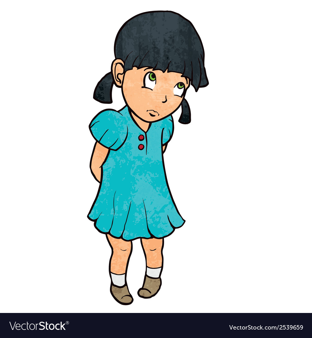 Cute sad guilty little girl in blue dress Cartoon.