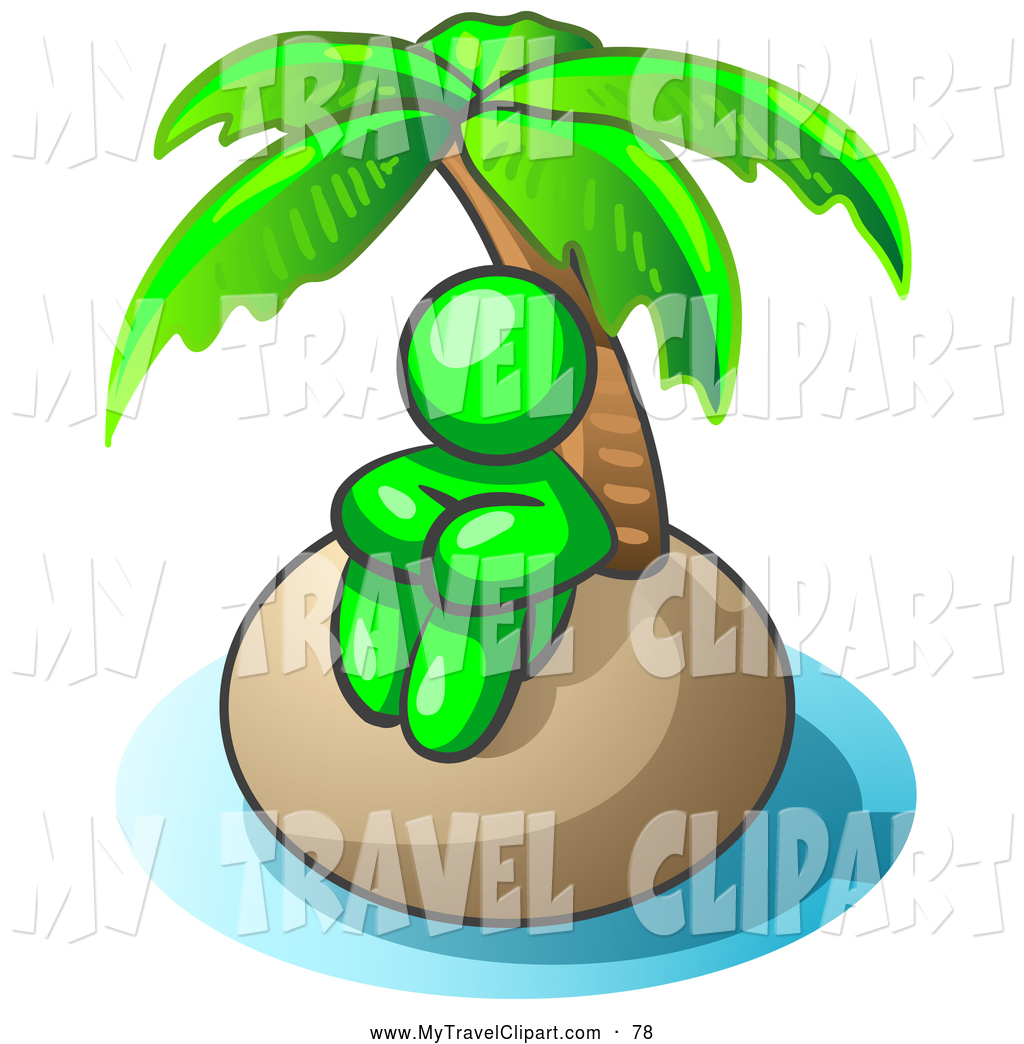 Clipart of a Lonely Lime Green Man Sitting All Alone with a Palm.