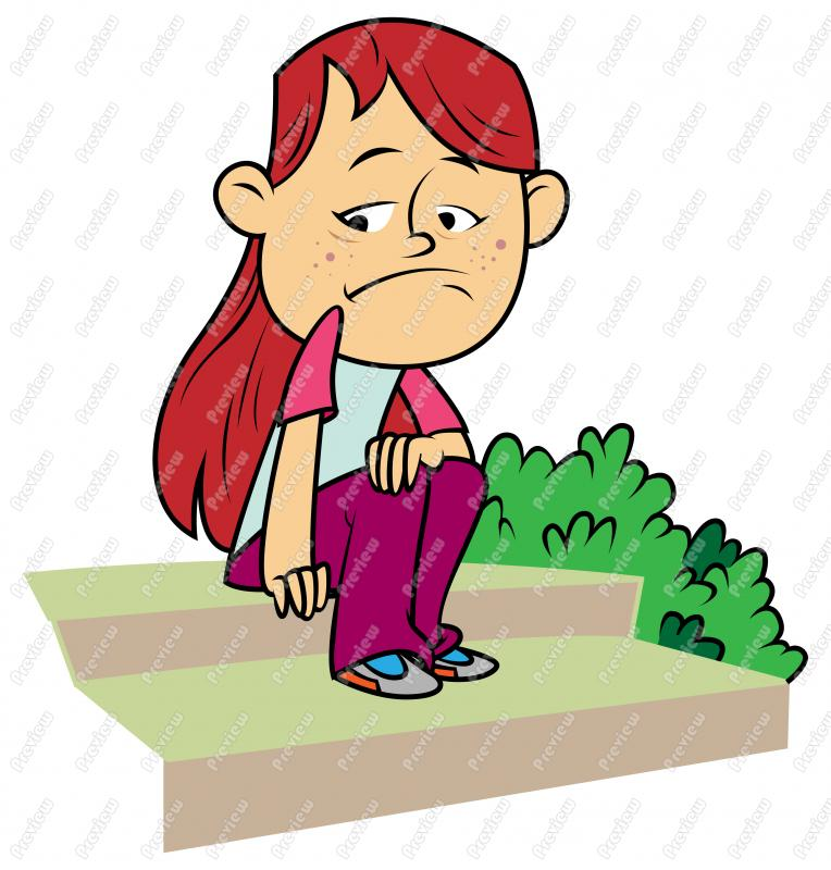 Lonely Girl Walking Clipart.