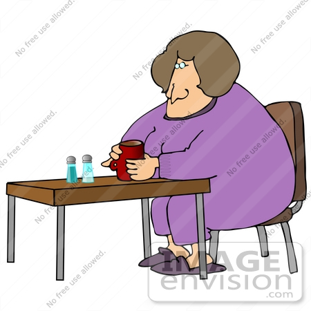 Clip Art Graphic of a Lonely Overweight Woman Drinking Coffee by.