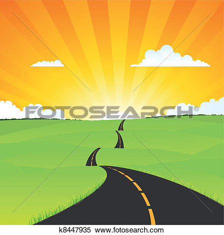 Clipart of Long Journey In Summer Season k8454453.