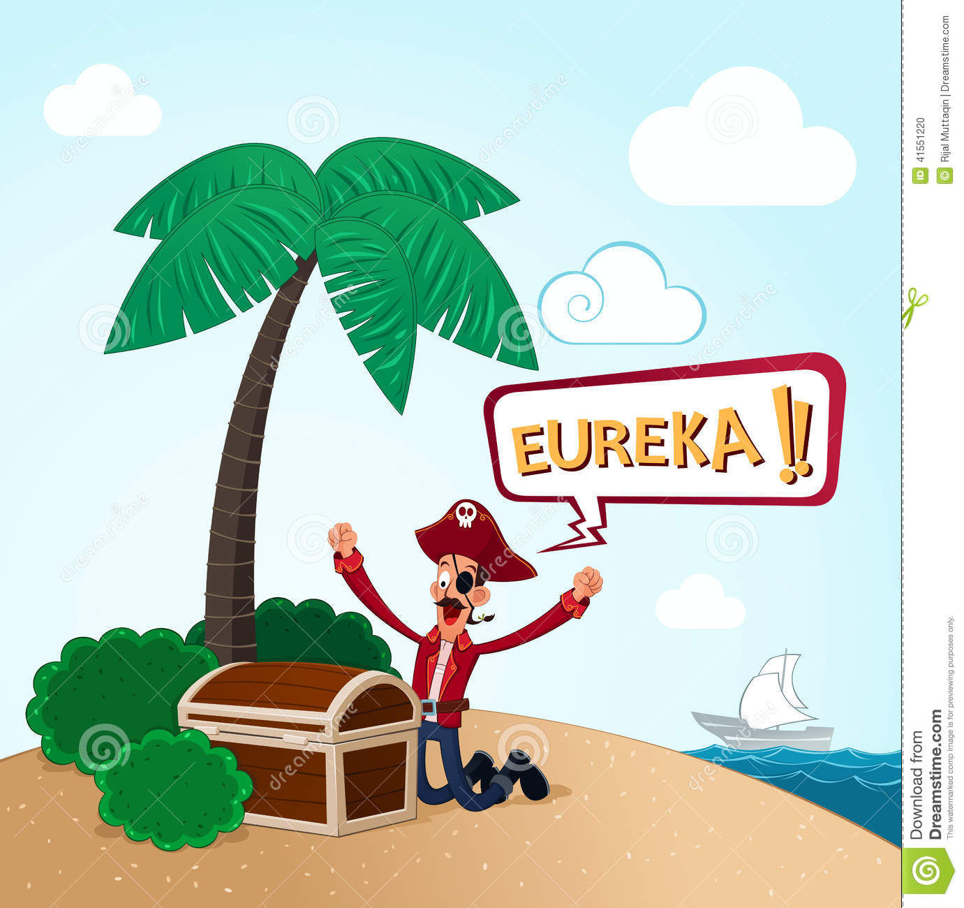 Pirate discover an island stock vector. Illustration of journey.