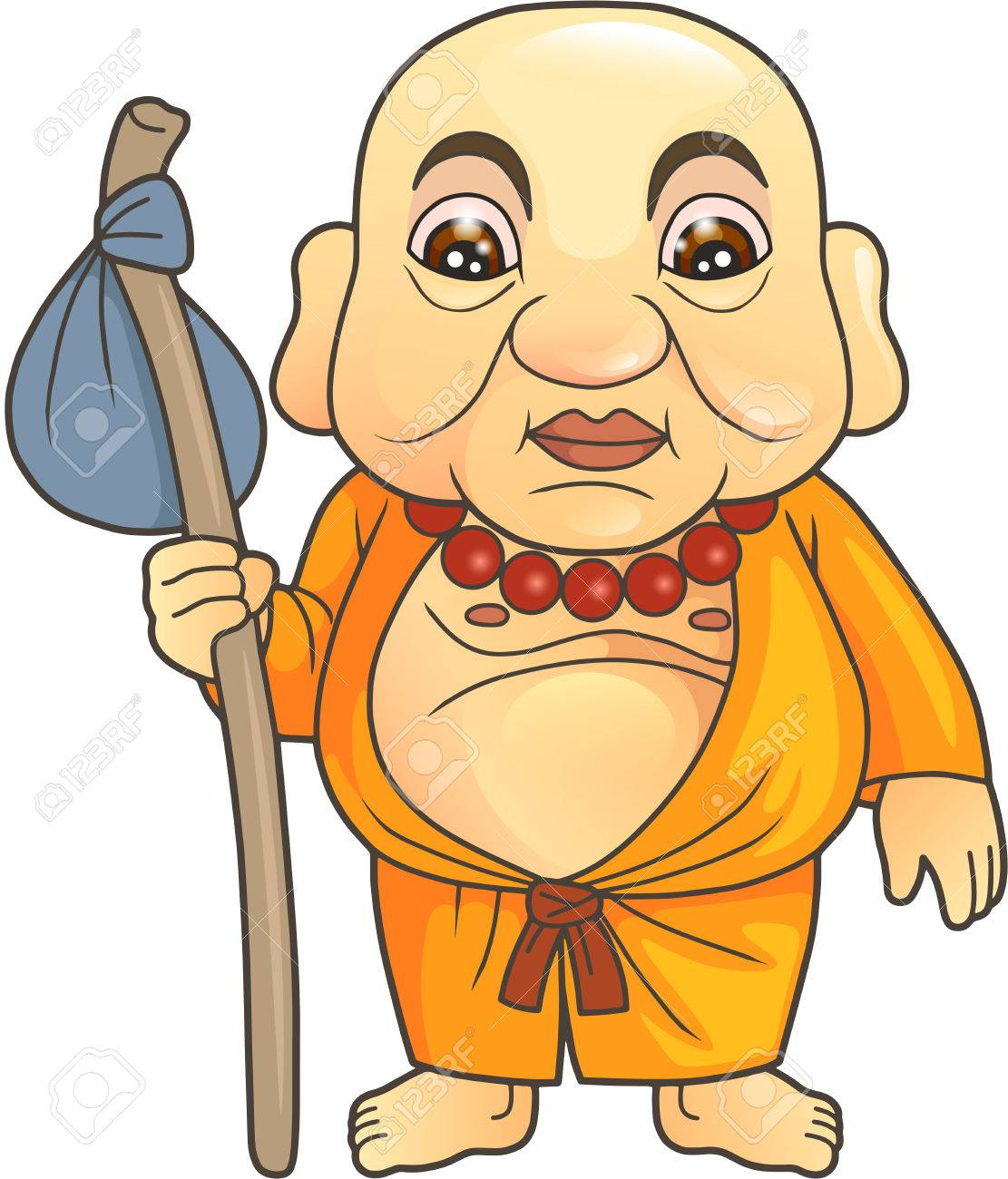Cartoon Buddha Preparing For A Long Journey Royalty Free Cliparts.