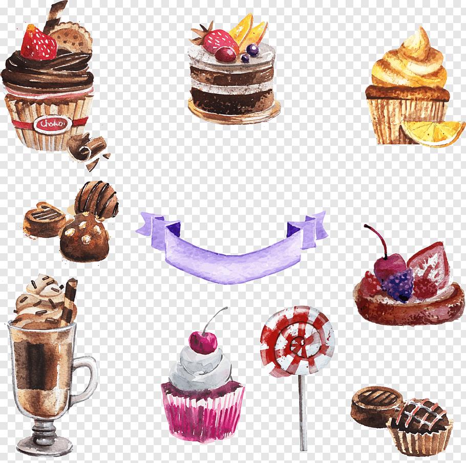 Assorted cupcake lot illustration, Cupcake Torte Dessert.