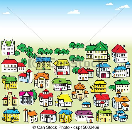 Clip Art Vector of lot of houses.