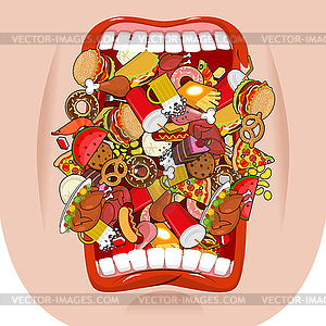 Widely open mouth lot of food. Absorption of feed..