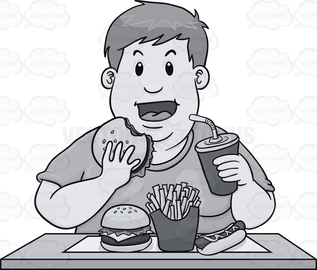 Fat Guy Eating A Lot Of Fast Food » Clipart Station.