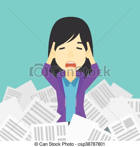 Stressed business woman having lots of work to do..