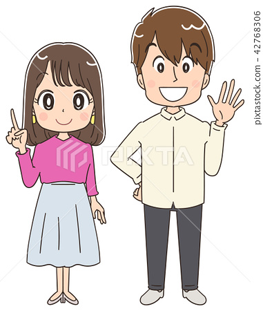 A young man and woman clipart.