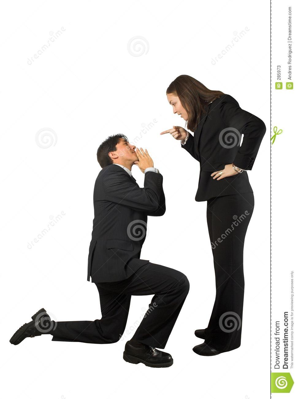A Man Begging A Woman Clipart.