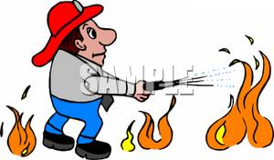 A Man Fighting Fire.