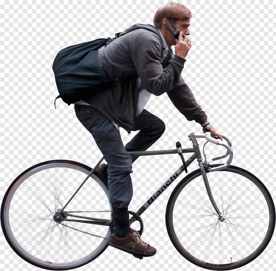 Man riding fixed gear bicycle while using phone, Bicycle.