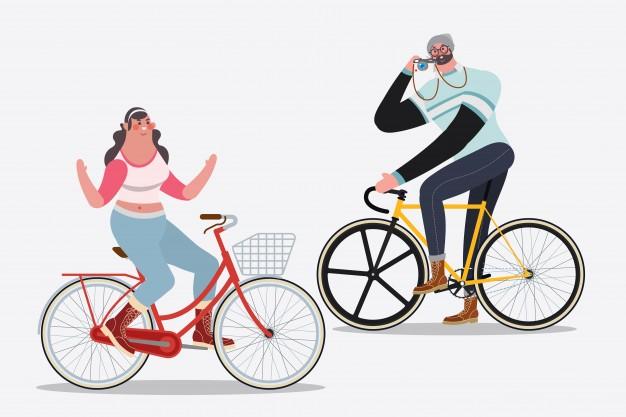 Cartoon character design illustration. men riding bikes.