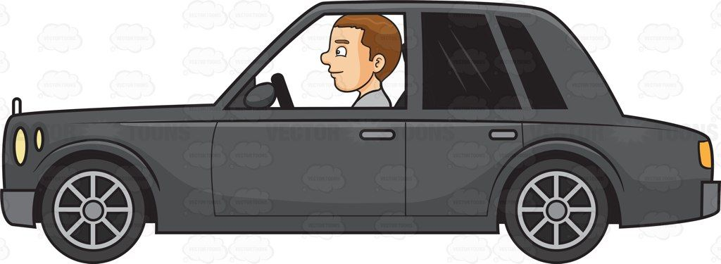 A man driving a luxury car #cartoon #clipart #vector.