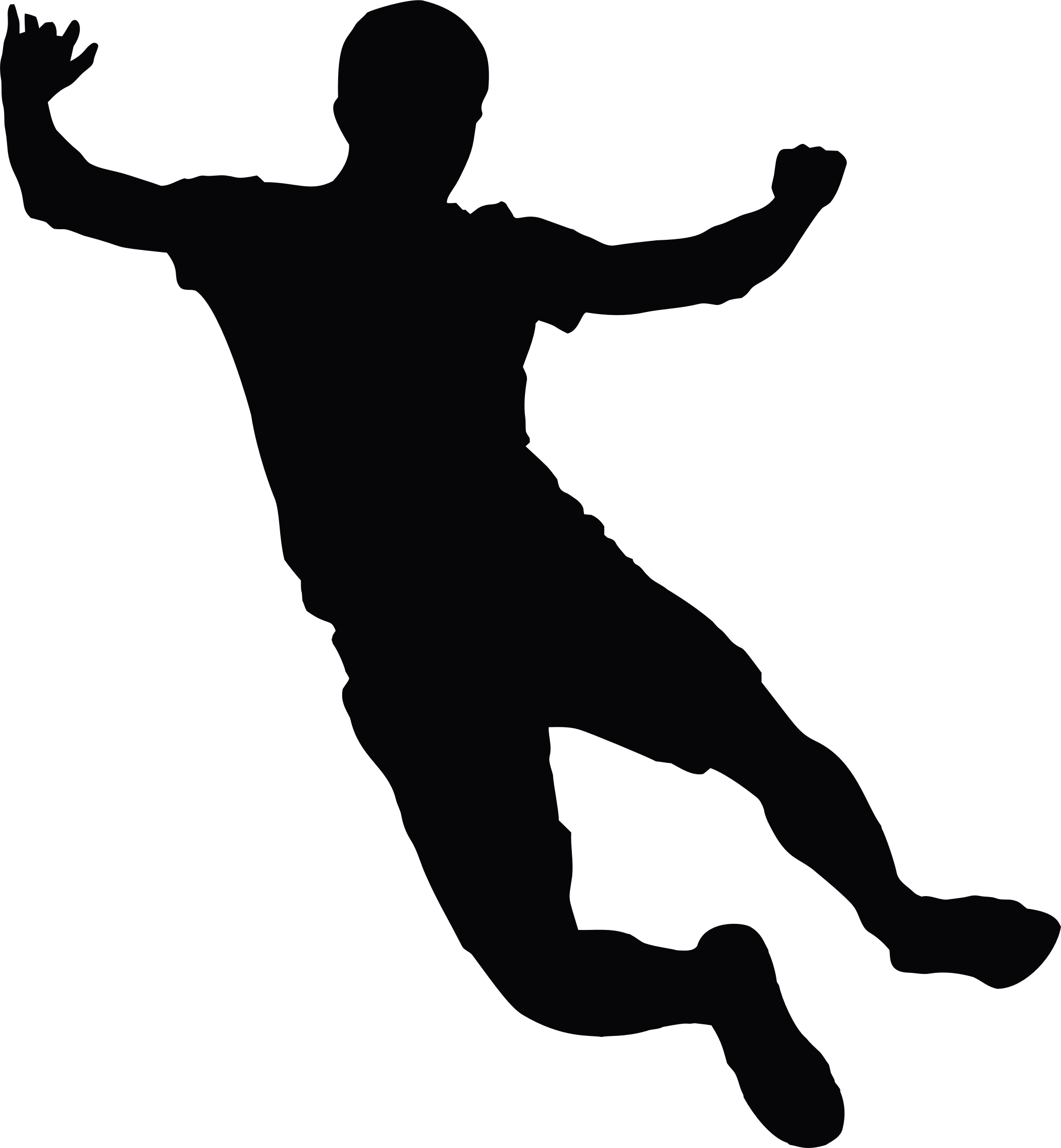 Silhouette Of A Man Jumping.