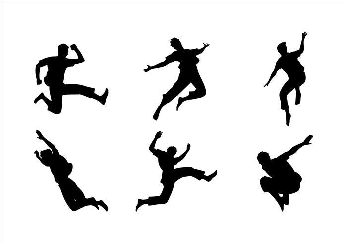 Man Jumping Siluetas Vector.