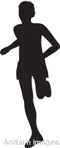Clip Art Silhouette of a Man Running.