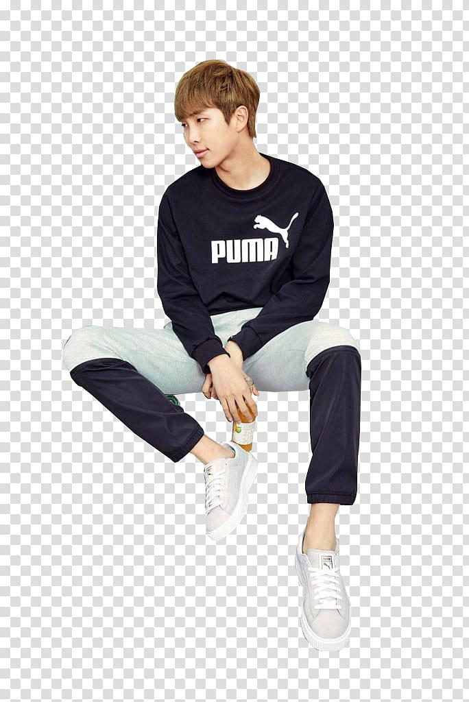 Bts Puma, man sitting down transparent background PNG.