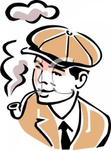 A Colorful Vintage Style Cartoon of a Man Smoking a Pipe.