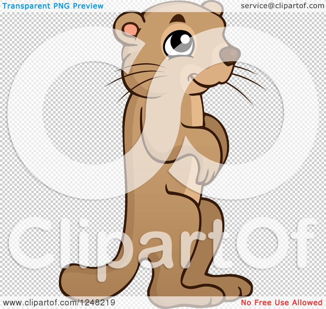 Clipart of a Cute Alert Marmot.