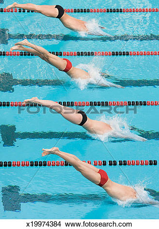 Stock Photo of Four men diving into swimming pool at start of race.