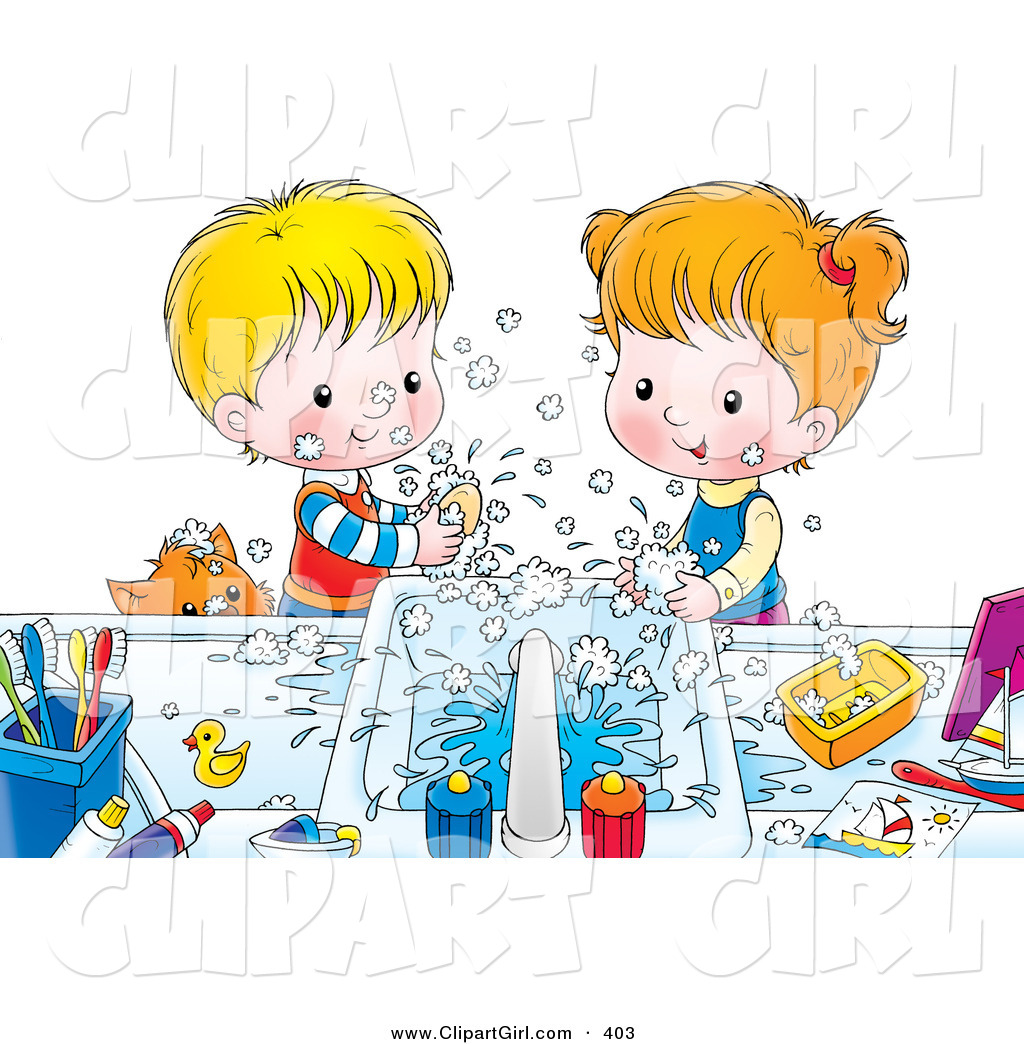 Clip Art of a Happy Brother and Sister Making a Mess While Washing.