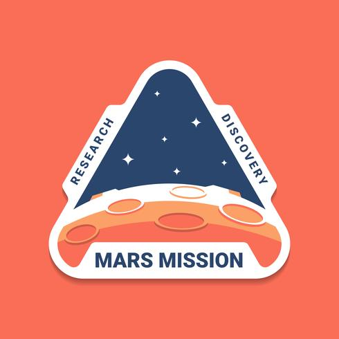 Mars Space Mission Badges Logo Emblems.