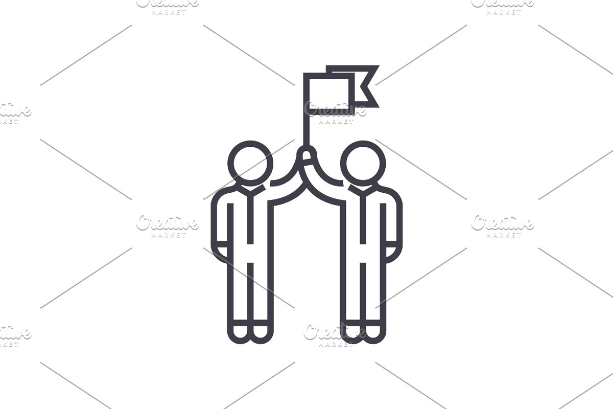 teamwork, mission, goal flag, vector line icon, sign, illustration on  background, editable strokes.