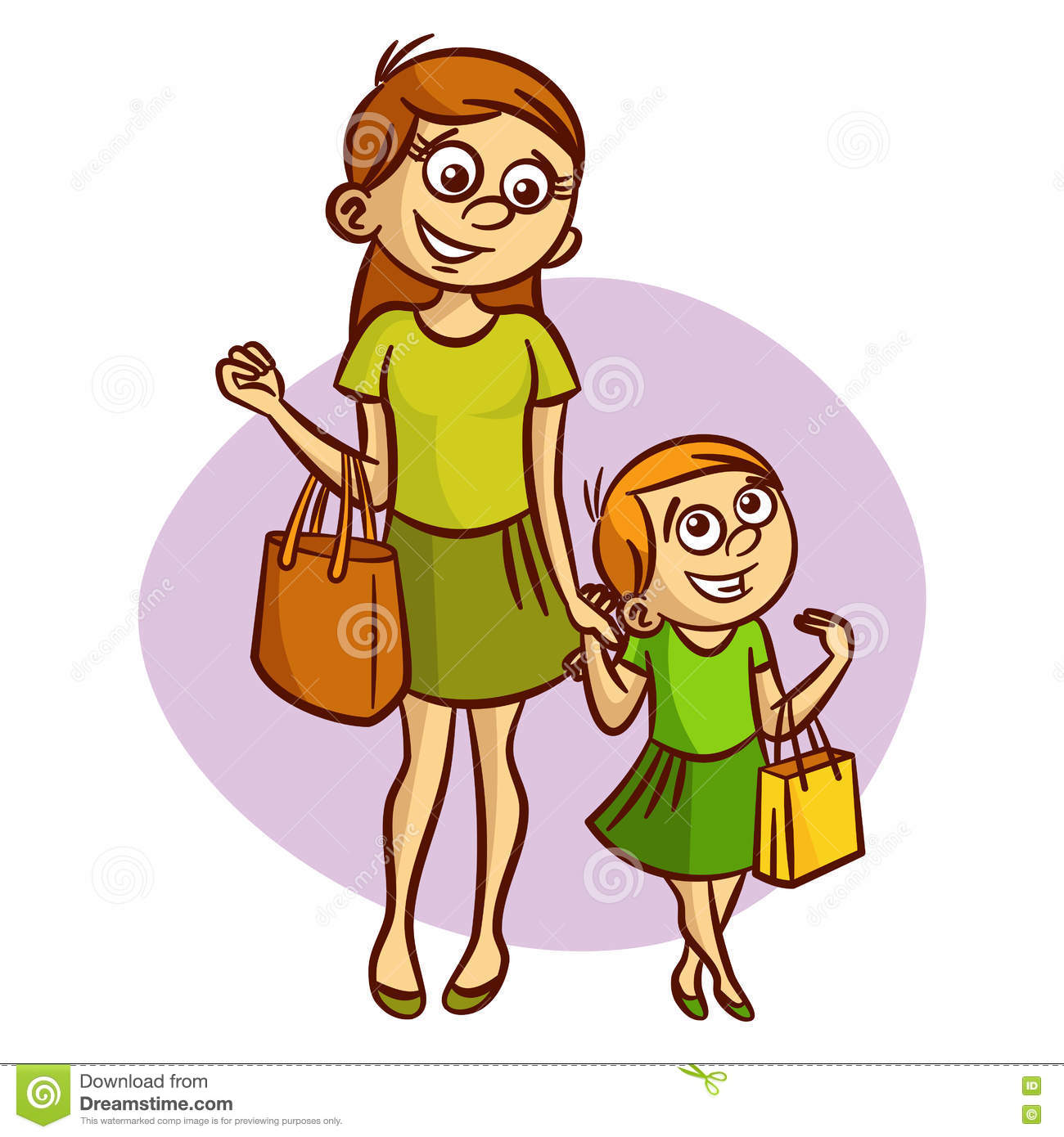 Little Girl And Mom Clipart.